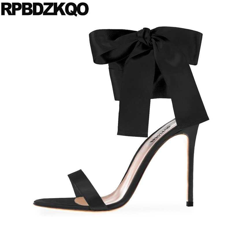Ladies Women Gold Open Toe Heels Bow Sandals Black High Designer Pumps  Satin Ankle Strap Burgundy 7e18f174e241