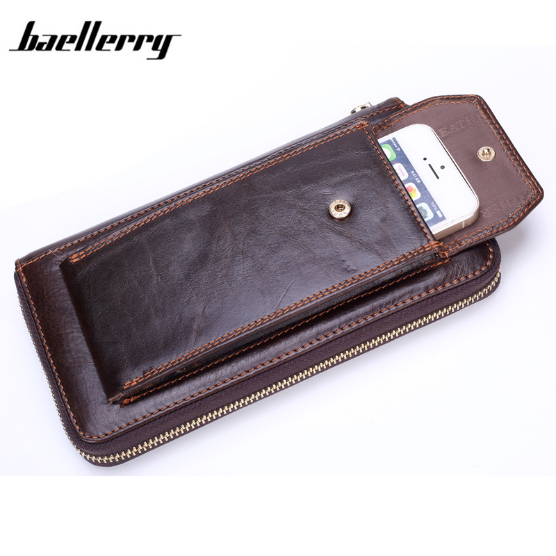 Baellerry Long Designer Men Wallets with Phone Bag Business Wristlet Male Cluth Oil Wax Genuine Leather Wallet Organizer Purse genuine leather men business wallets coin purse phone clutch long organizer male wallet multifunction large capacity money bag