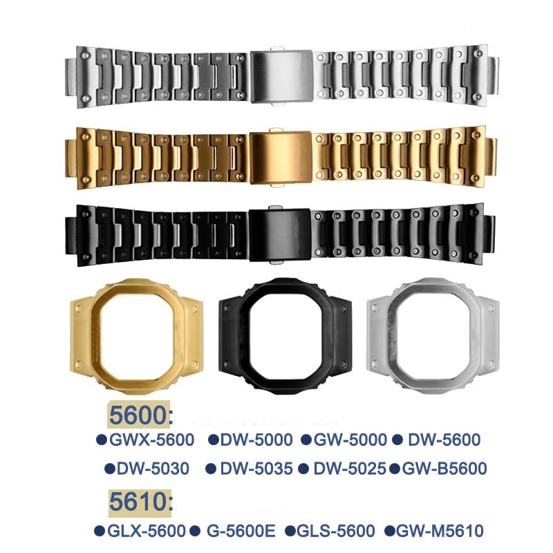 Pour g-shock 316L boîtier en acier inoxydable pour montre Pour DW5600/5000/5025/5035 GW-5000 5035 GW-M5610 G-5600-E Pour Casio Montre Bracelet