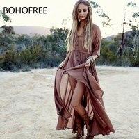 BOHOFREE Maxi Dress Boho People V Neck Single breasted Tunic Waist Boho Dress Beach Vestidos Streetwear Women's Dress Autumn