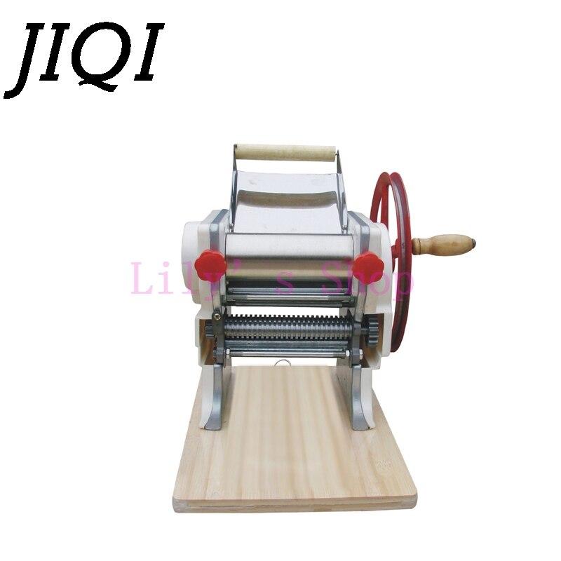 JIQI Stainless Steel Manual Noodle Maker Hanger Pressing Pasta Machine Hand Crank Dough Cutter Roller Spaghetti Cutting Slicer
