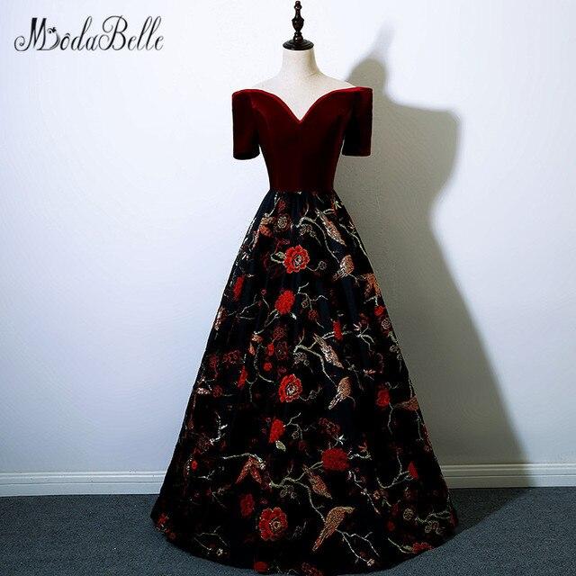 aa6dd3b0e7 modabelle Burgundy Floral Prom Dresses Embroidery 2018 Off Shoulder  Vestidos Graduacion Largos Velvet Floor Length Prom Gown