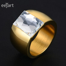 eejart 316L Stainless Steel Luxury brand big Ring Austrian Crystal Stone Ring Wedding Ring for women