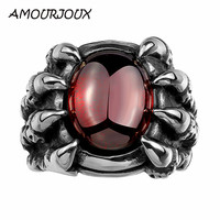 Punk 316L Stainless Steel Rings For Man Fashion Men Jewelry Bridal Red CZ Skeleton Ring Anel