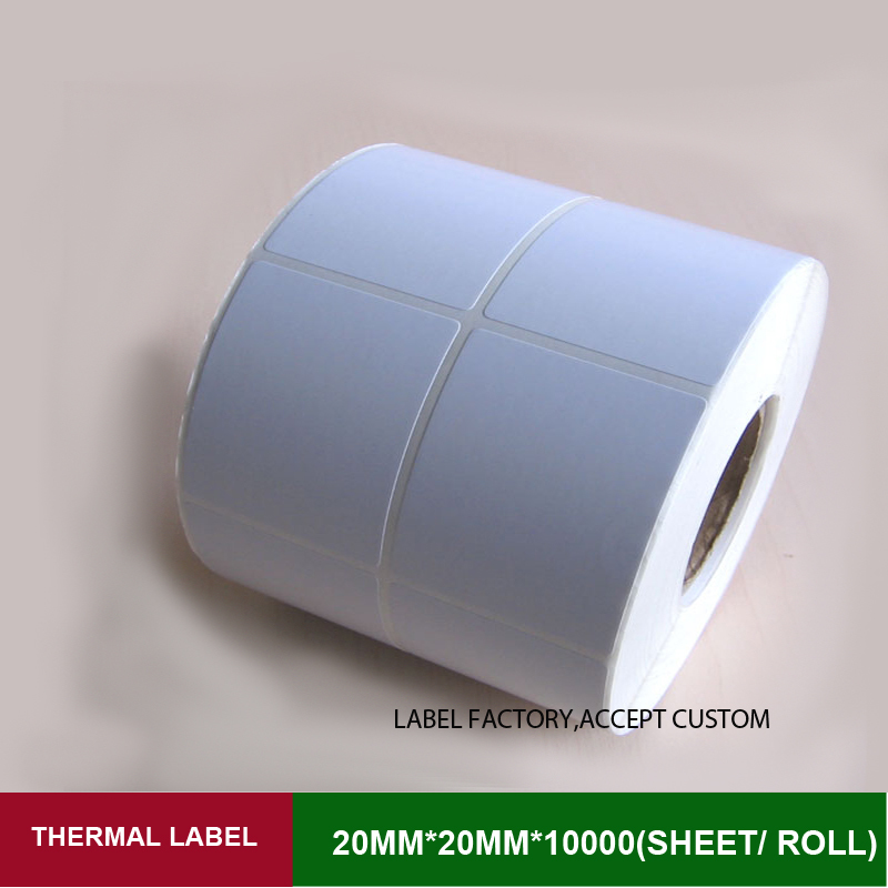 Blank sticker label 20*20mm*10000 sheets double row fragile sticker widely used for product management in stock with barcode corporate real estate management in tanzania