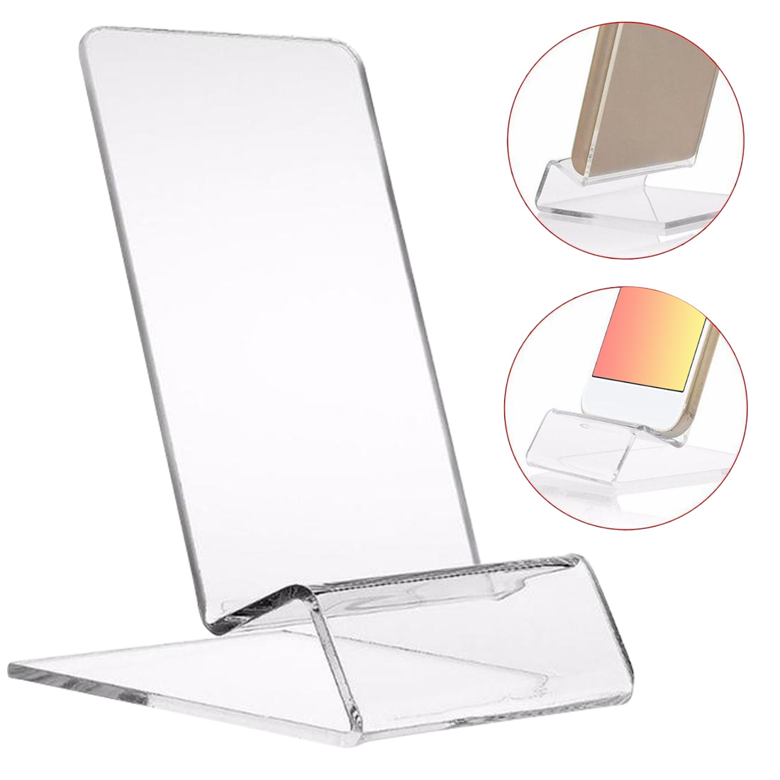 Clear Acrylic Plexiglass Phone Mount Holder Mini Portable Display Rack Stand For Cell Phone Display
