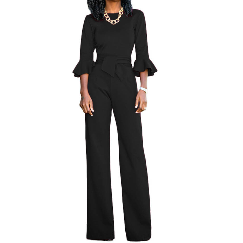 HAOOHU New Fashion Autumn Elegant   Jumpsuits   Women Wide Leg Casual Rompers Womens   Jumpsuits   Flare Sleeve Female Overalls