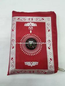 Image 2 - 24pcs/lot mix 4colors Travel muslim without compass pocket size prayer mat