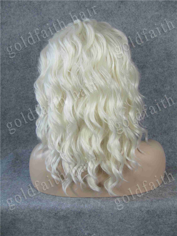 #1001/613 Light Blonde Chic Short Fashion Heavy Density Lace Front Heat Safe Fiber Fashion Lady Wig S17