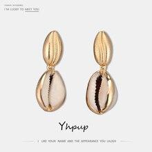 цена Yhpup New Stylish Occident Brand Abalone Shell Dangle Earrings Geometric Statement Earring for Women Party Jewelry Gift kolczyki в интернет-магазинах