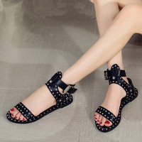 Europe Style Personality Rivet Flat Sandals Summer Shoes Female Large Size 42 43 Open Toed Casual