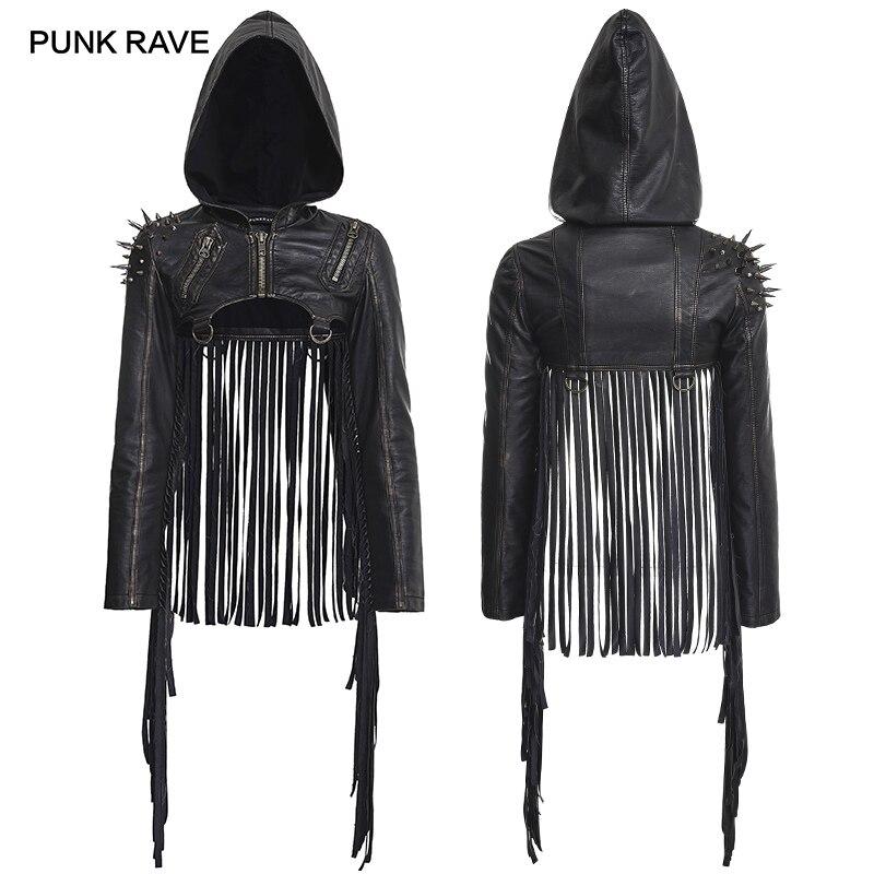 PUNK RAVE Femmes Steampunk de Mode Nouveauté Punk Rock rivet En Cuir À Capuchon Veste Courte Personnalité Gland Punk manteau femmes