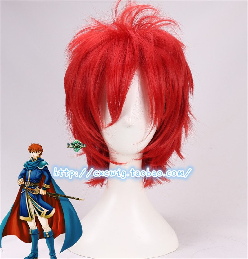 Brave Game Fire Emblem Blazing Sword Wig Eliwod Short Red Cosplay Hair Halloween Role Play 30cm