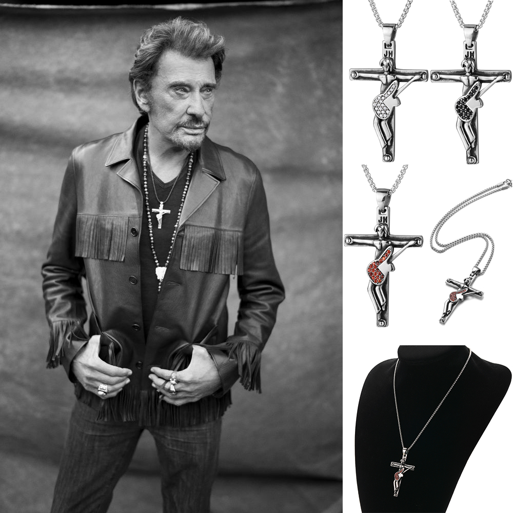 Guitar Cross Pendant Necklaces Men Jewelry Stainless Steel Chain Christian Crucifix Johnny Hallyday in Pendants from Jewelry Accessories