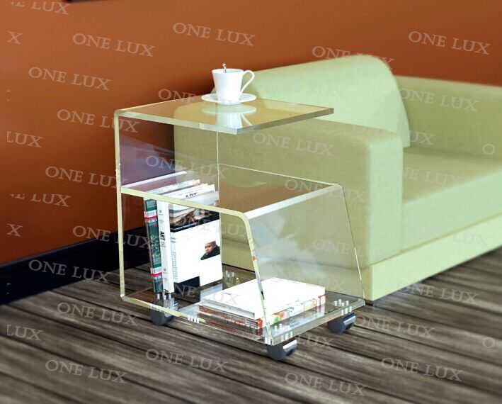 ONE LUX  High Transpaprency Acrylic Sofa Tea Table,Rolling Lucite Magazine Book Rack Table,G Tables c shaped waterfall acrylic occasional side tray table on wheels plexiglass rolling sofa tea tables
