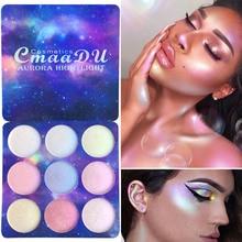 CmaaDu 9 Color Shimmer Eye Shadow Palette Highlight Eyeshadow Waterproof Long Lasting Makeup Face Lip Glow Make Up Set