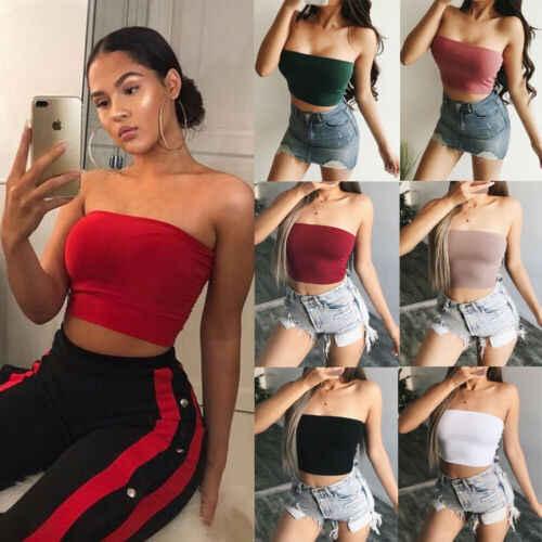 2019 Phụ Nữ Mới Dây Plian Chắc Chắn Gợi Cảm Crop Top Clubwear Cổ Áo Vest 6 Kiểu Bể nữ Mùa Hè quần áo