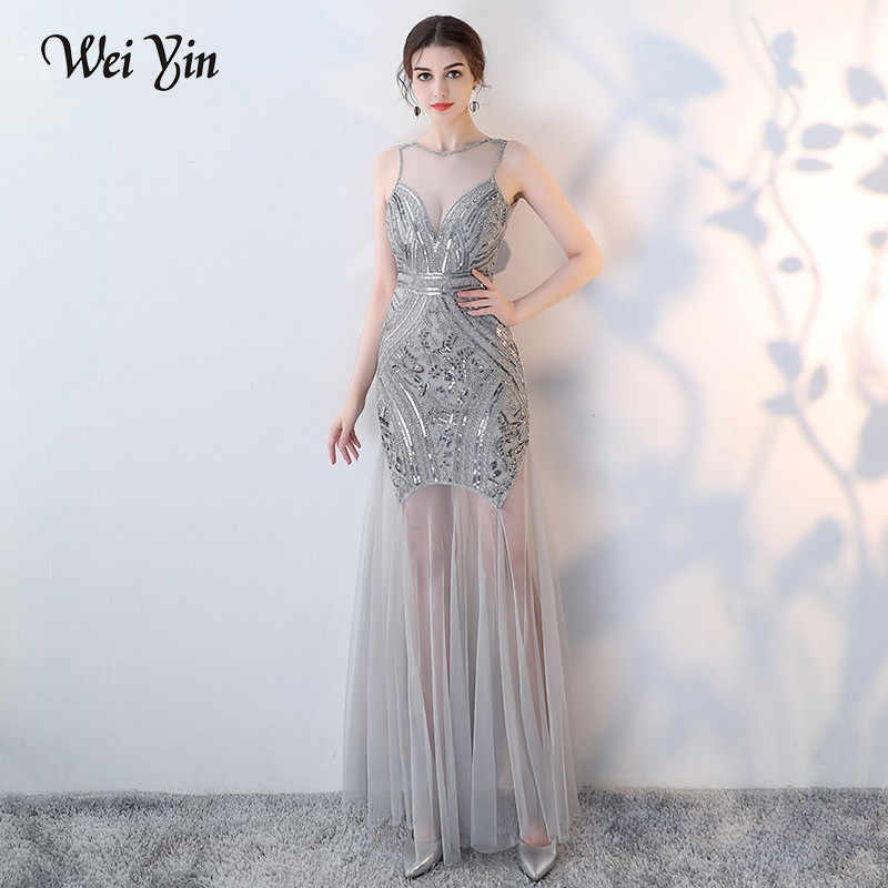 aca5e37b103 WEIYIN Sequins Beading Evening Dresses Mermaid Long Formal Prom Party Dress  Sexy Mother of the Bride