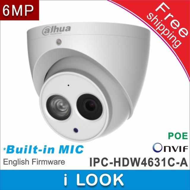 Frete grátis dahua suporte poe câmera de rede ip cctv IPC HDW4631C A substituir IPC HDW1531S microfone embutido hd 6mp dome câmera