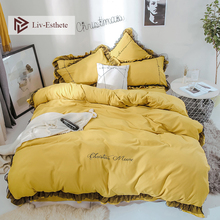 Liv-Esthete Luxury Beauty Yellow Bedding Set Lace Duvet Cover Flat Sheet Bedclothes Double Queen King Bed Linen For Girl Gift