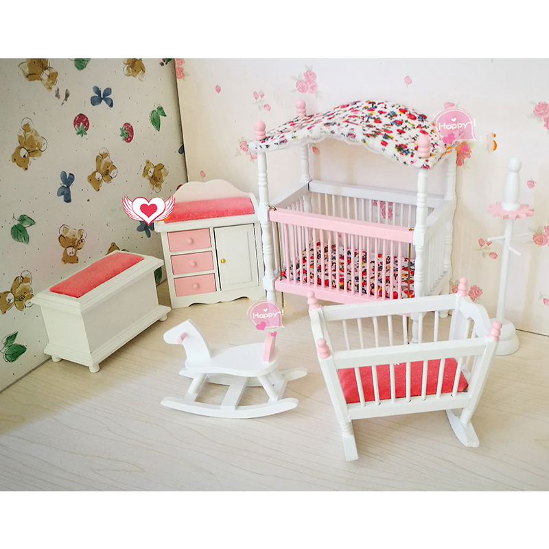 1:12 dollhouse furniture toy for dolls white & pink wooden baby room Crib chair cute pretend play kids toys girls children gifts цена