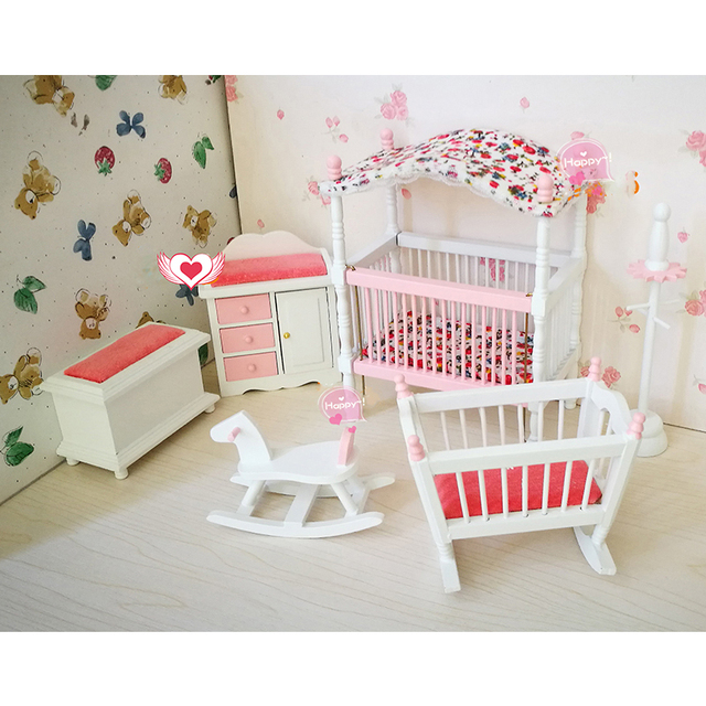 1:12 dollhouse furniture toy for dolls white & pink wooden baby room ...