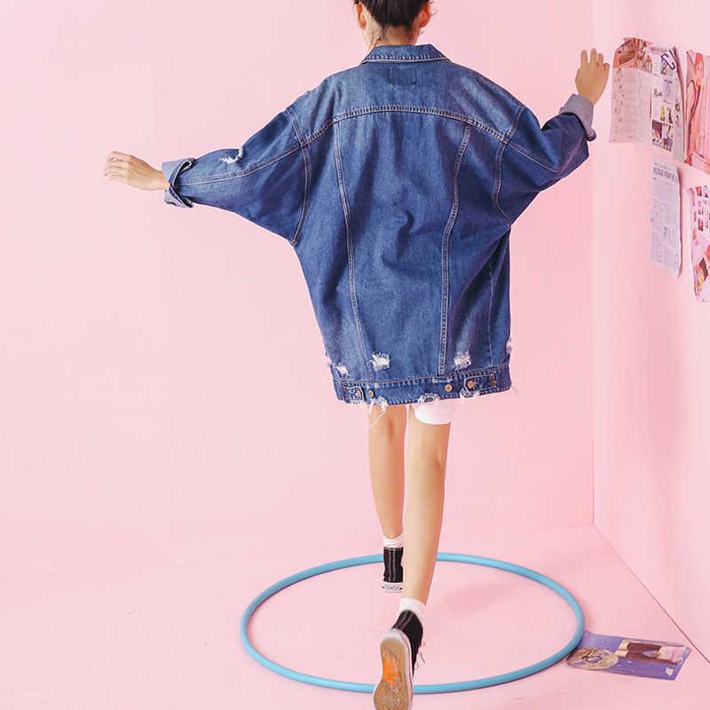 Новинка весны осенние джинсы Куртки 2017 Синий Винтаж джинсовая куртка Длинные Полный рукавом Кардиган пальто Джинсы для женщин куртка Для женщин A801