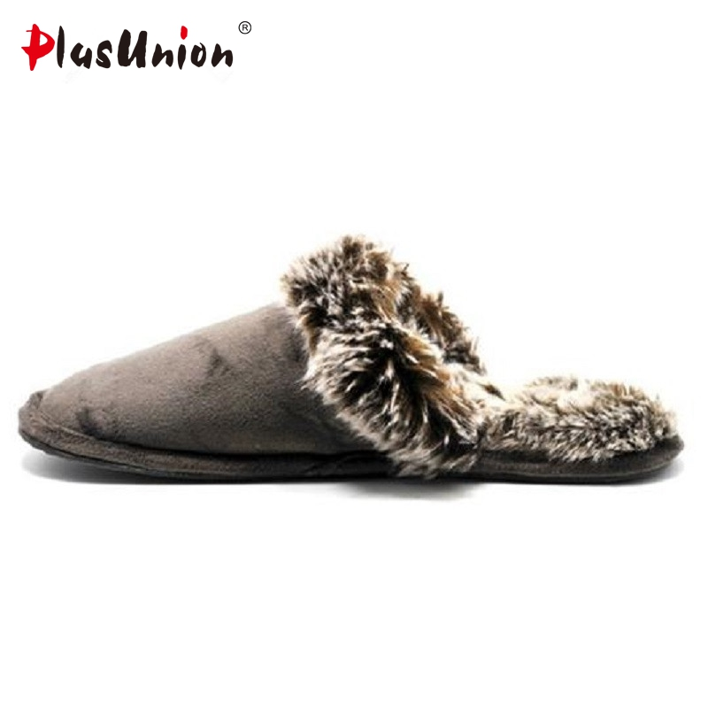 Men's slipper Winter soft house slippers fur warm home ...