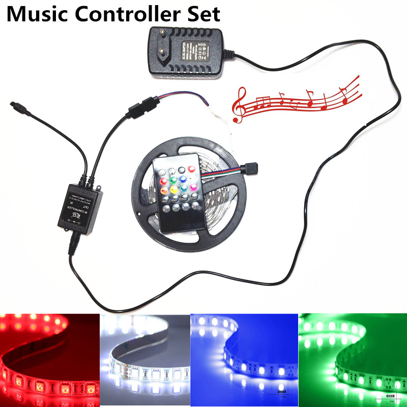 Music Remote 15M 10M 5050 RGB Tape 30led/m Flexible Waterproof Led Strip light+ Music Remote Controller +110V/220V Power supply
