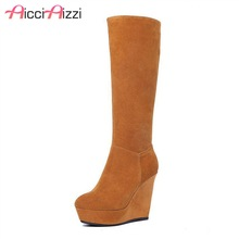 ZALAVOR Women Real Leather Wedges Boots Platform Zipper Knee Boots Warm Fur Shoes Winter Botas For Women Footwears Size 34-39