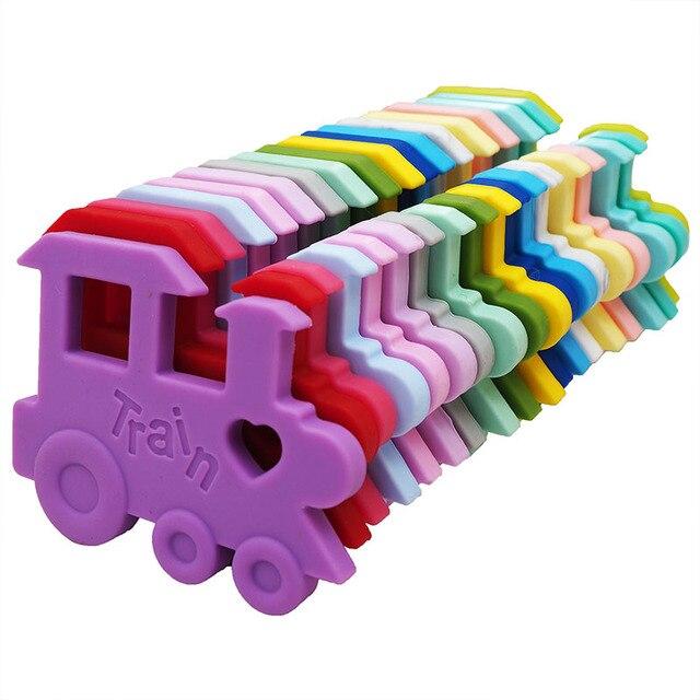 Chenkai mordedor de tren de silicona DIY, chupete de bebé de dibujos animados, joyería de dentición simulada, juguete para regalo