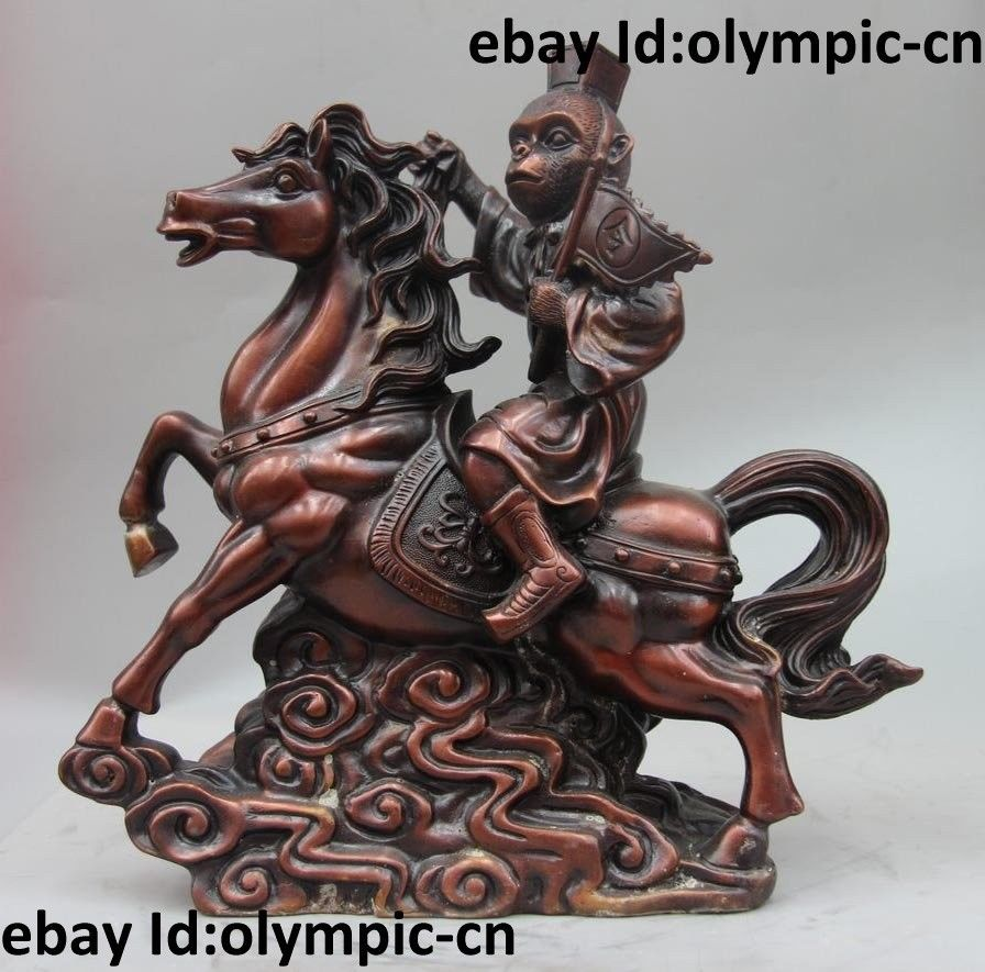11 China Bronze Monkey ride Horse Immediately seal the Hou Statue sculpture