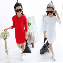 2018 Brand New Spring Autumn Girls Cute Long Sleeve O-Neck With Hat Princess Lovely School Fashion Dress Hot Sale Retail