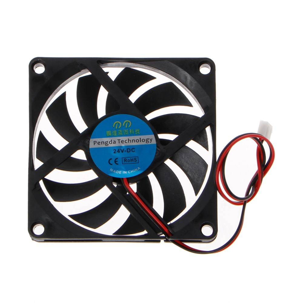 24V 2-Pin 80x80x10mm PC Computer CPU System Heatsink Brushless Cooling Fan 8010 JAN07 Dropship