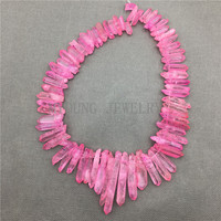 MY0586 Natural Fuchsia Crystal Matte Rose Pink Quartz Stick Beads Spikes Point Top Drilled Necklace Making