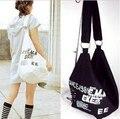2016 Primavera y el verano bolsos bolso de las mujeres carta simple calidad de lona del hombro estudiante bolsa de mensajero de moda tire el viento