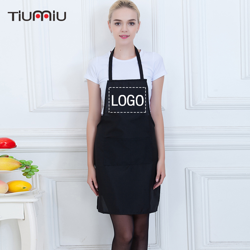 Customized Your Own LOGO Apron Halter Neck Kitchen Restaurant Hotel Cafe Bakery Chef Waiter Waitress Cook Workwear Apron Uniform