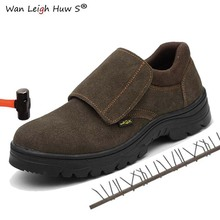 2019 New Mens Work Boots Safety Shoes Trainers Steel Toe Brown Extra Wide Cow Leather Plate Midsole Winter Warm Snow