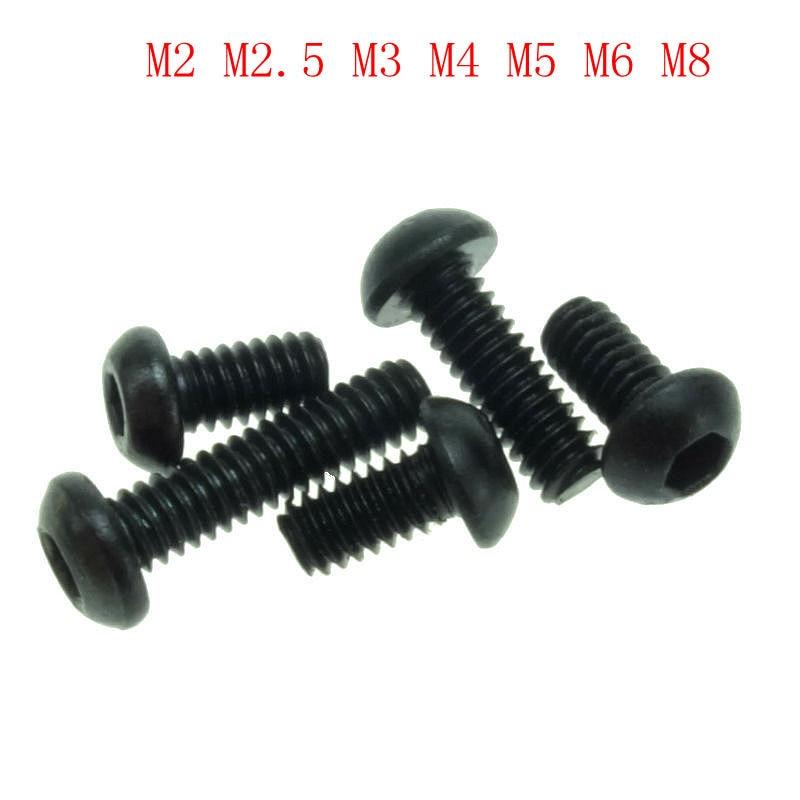 M2 M2.5 M3 M4 M5 M6 M8 Grade 10.9 Alloy Steel Screws Hex Socket Round Head Cap Black Screw Furniture Fastener Bolt цена