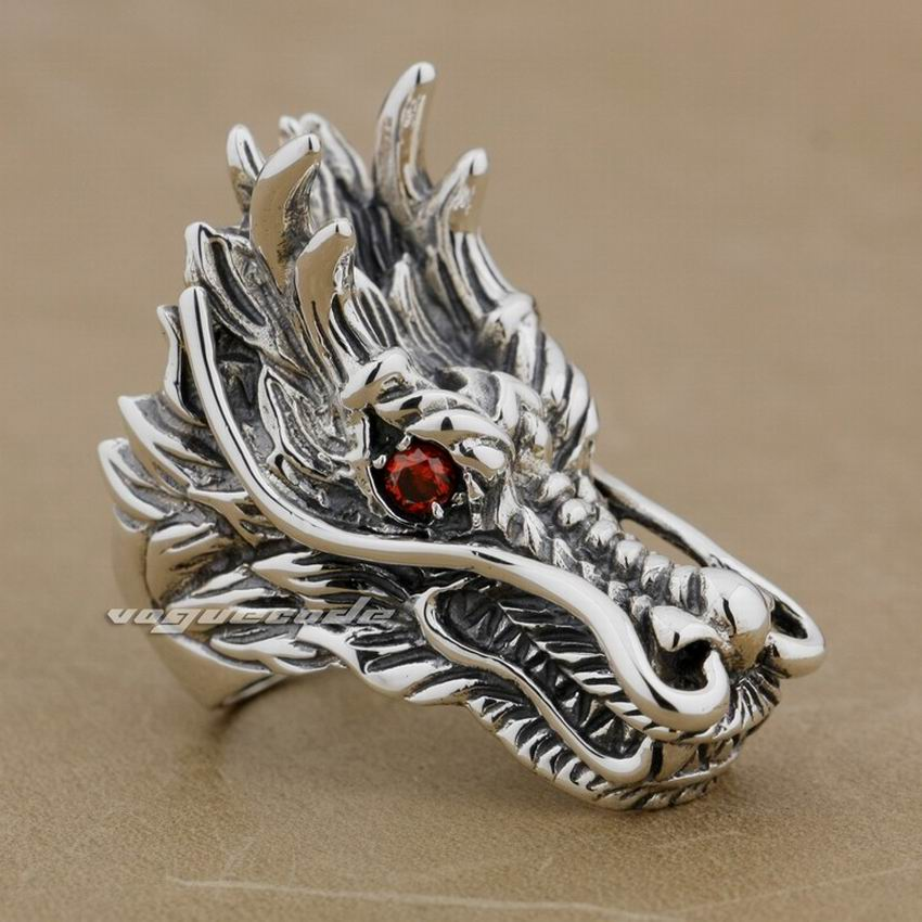 Huge Heavy 925 Sterling Silver Red CZ Eyes Dragon Mens Biker Rock Punk Ring 9D010 US