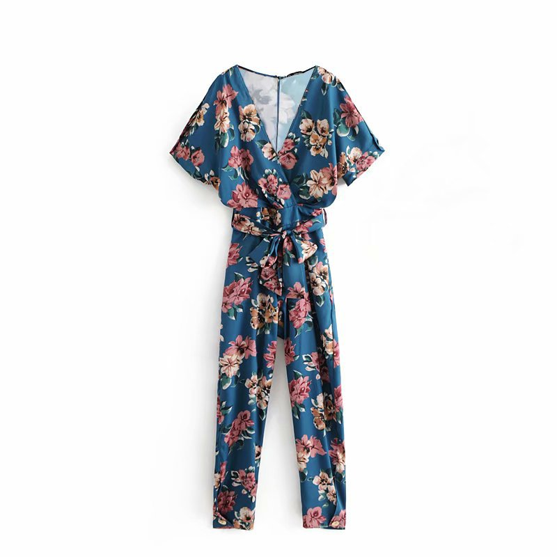 women popular new Sail 55-1573 European and American fashion wind flower print pants