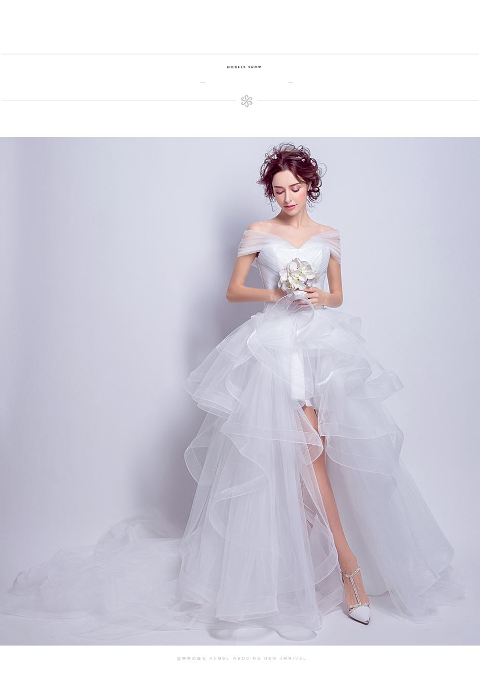 Angel Wedding Dress Marriage Evening Bride Party Prom Bridal Gown Vestido De Noiva 2017 Boat Neck asymmetrical7207 9