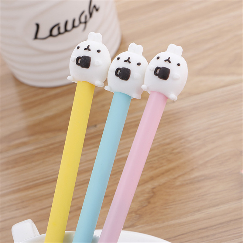 Korean Creative Coffee Rabbit Cute Gel Pen Cartoon Kawaii Stationery Store 3D Lovely Kids Back to School Stationary Escritorio