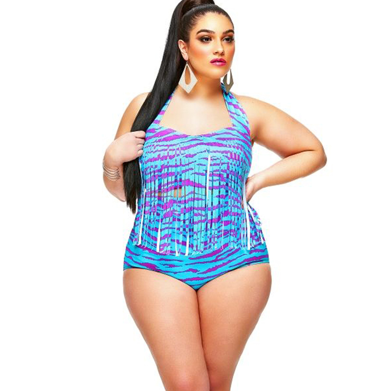 a2b7ed4e14e JOYMODE Plus Size Obese Women Sexy Bikini Summer Two Pieces High Waist  Swimsuits Retro Bathing Suit Large Size Swimwear 3XL B-in Bikinis Set from  Sports ...