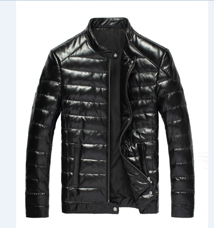 YR!Free Shipping.handsome Casual Style Genuine Leather Jacket.90% White Duck Down Sheepskin Coat.winter Warm Leather Jacket
