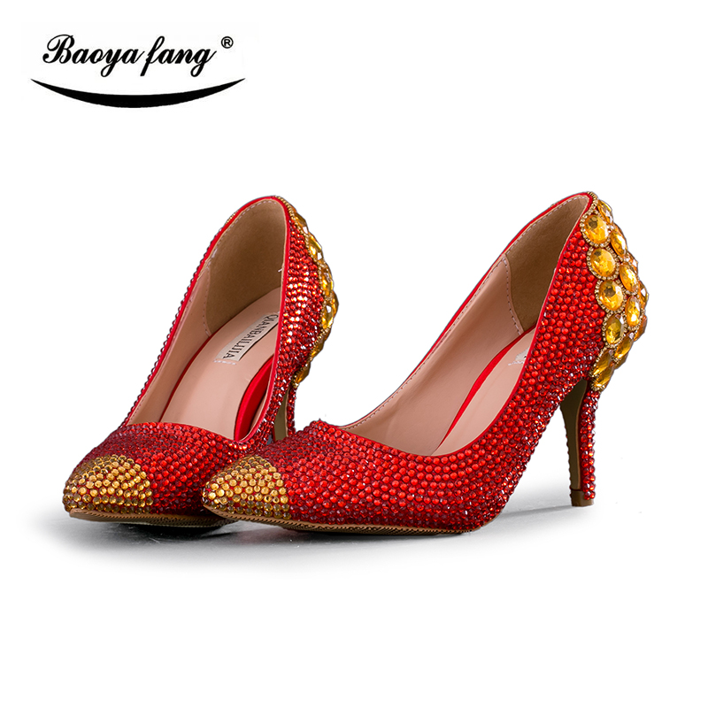 BaoYaFang Womens wedding shoes Red and gold crystal 8cm heel pointed toe woman shoes female shoes party dress shoes low heel baoyafang white luxury crystal womens wedding shoes bride lace thin heel high heels party dress shoes woman female shoes