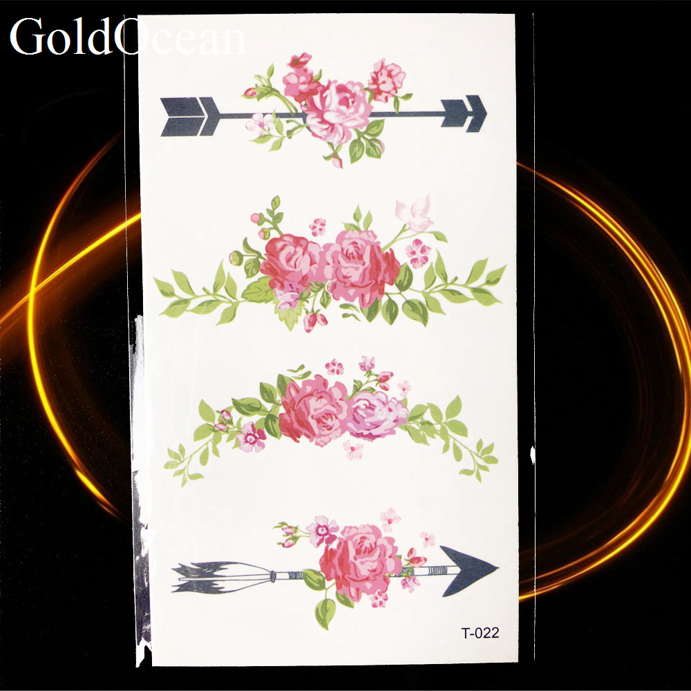 105x6cm Watercolor Lotus Flower Leaf Temporary Tattoo Sticker Small