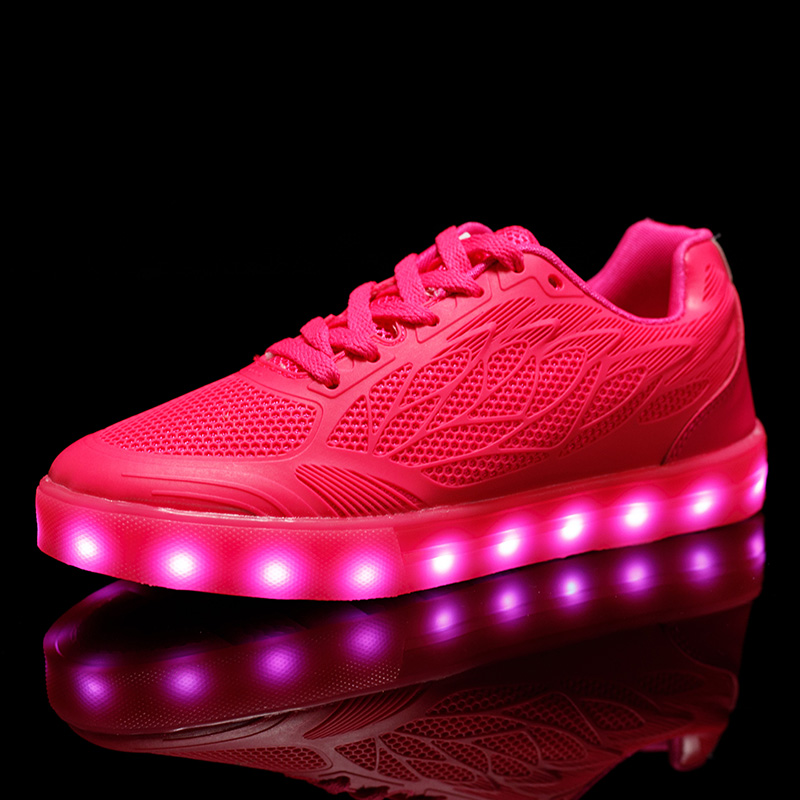 STRONGSHEN USB charging White Kids Sneakers Fashion Luminous Lighted Colorful LED lights Children Shoes Casual Flat girl Shoes new fashion children usb charging led light shoes kids sneakers fashion luminous lighted boy girl shoes chaussure led enfant