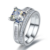 Luxury Quality 2 Carat Princess Cut Best Quality NSCD Synthetic Diamond Engagement Ring Set For Women