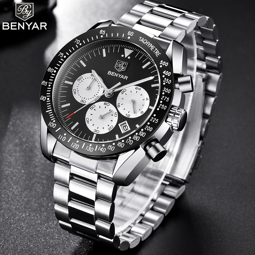 BENYAR Top Brand Luxury Mens Watch Waterproof Chronograph Business Quartz Sport Watch Men Steel Cock For Man Relojes Hombre 2018 burei men watch stainless steel sapphire glass quartz waterproof wristwatch chronograph analog man business watch relojes hombre